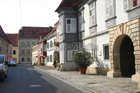 historyczny domy austria starowka droga jezdnia