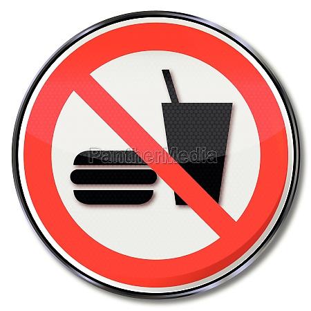 zakaz znak dla restauracji zabronione