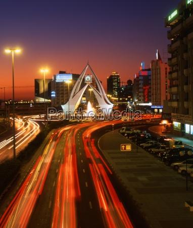 ruch drogowy transport noc nocy abendhimmel
